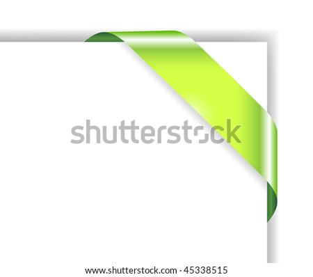 Card with green ribbon; clip-art
