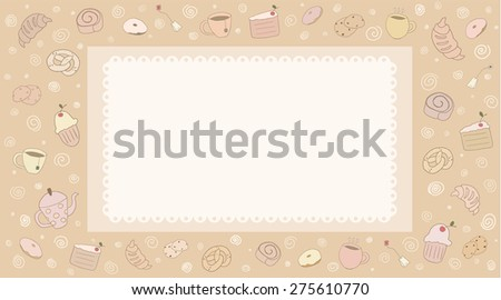 Card with hand drawn doodle bakery products and cups - stock vector