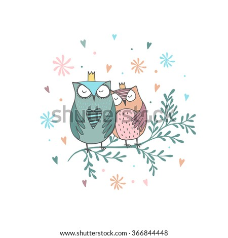 Card with hand drawn owls with flowers - stock vector