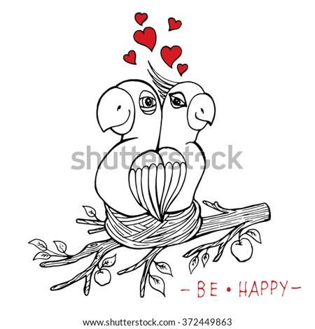 Card with hand drawn parrots in nest. Valentine's Day illustration