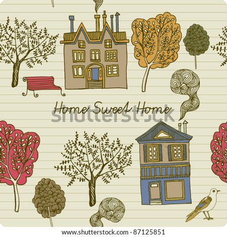card with house - stock vector