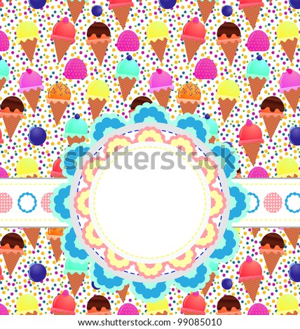Card with ice cream - stock vector