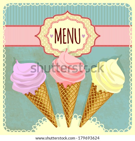 Card with ice cream. Template for menu. - stock vector