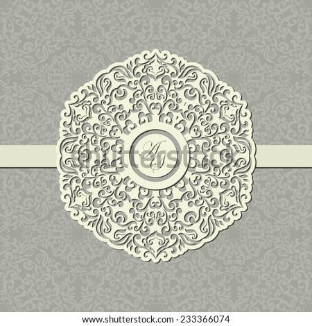 Card with lace designed Decor element. Elegant stylish Wedding Invitation, floral-lace design  - stock vector