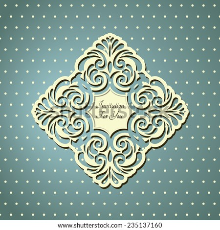 Card with lace designed Decor element. Elegant stylish Wedding Invitation, floral-lace design  - stock vector
