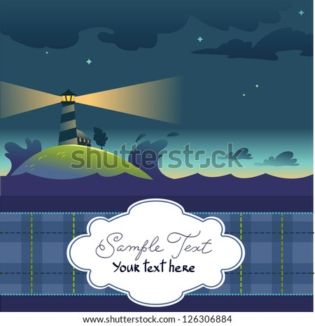 Card With Lighthouse - stock vector