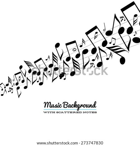 Card with line of messy scattered music notes on stave - stock vector