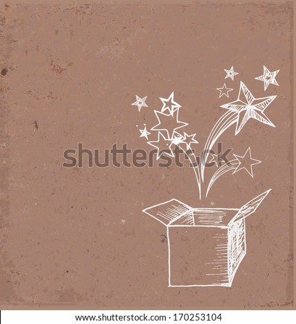Card with magic gift box hand drawn on brown paper. Vector illustration. - stock vector