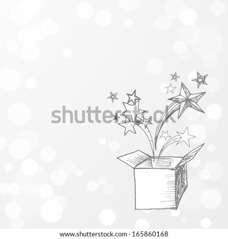 Card with magic gift box on glowing background. Vector illustration.