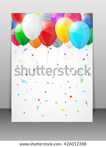 Card with multicolored balloons. Vector illustration. - stock vector