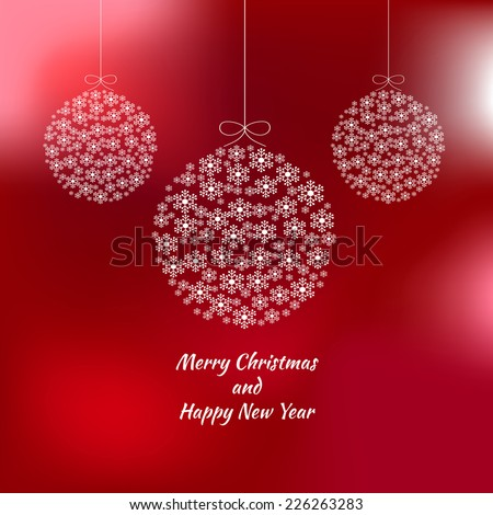 Card with New Year's ball out of the Snowflakes on blurred red background. Vector illustration.