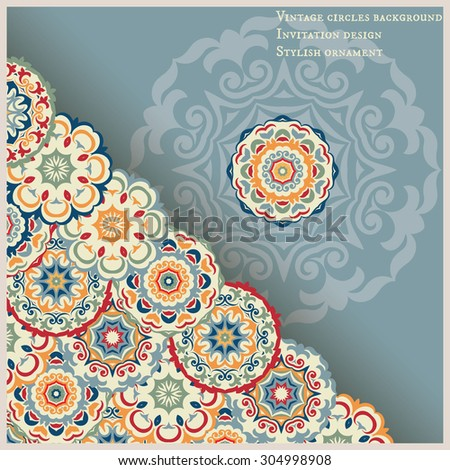 Card with ornament corner of circles, blue-orange colored design - stock vector