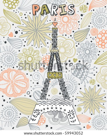 card with paris - stock vector
