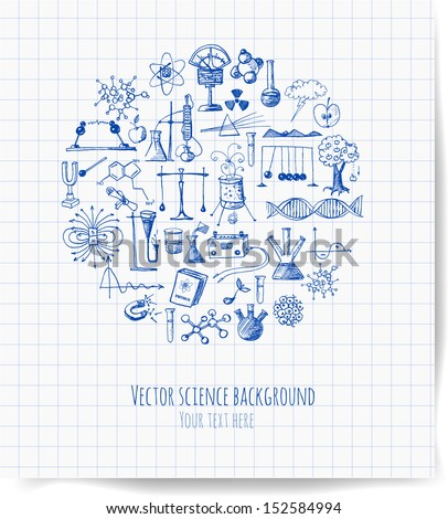 Card with pen sketch science objects. Physics and chemistry. Hand drawn vector illustration. - stock vector