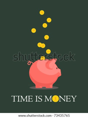 Card with piggy bank and coins. Vector illustration 1. - stock vector