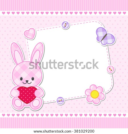 Card with pink bunny for girl. Vector template with place for your text - stock vector