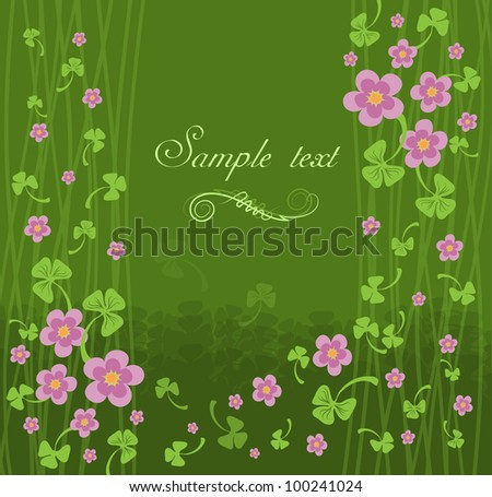card with pink flowers on a green background - stock vector