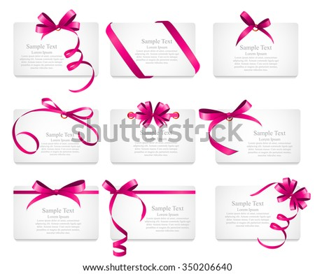 Card with Pink Ribbon and Bow Set. Vector illustration EPS10 - stock vector