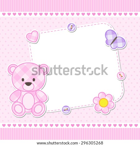 Card with pink teddy bear for girl. Vector template with place for your text - stock vector