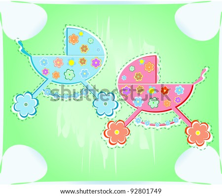 card with pram for boy and girl. Vector background