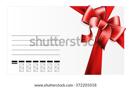 card with red bow - stock vector
