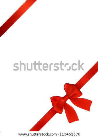 Card with red bow vector background - stock vector