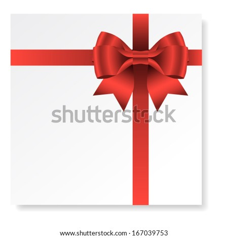 Card with red gift bow with ribbons, vector