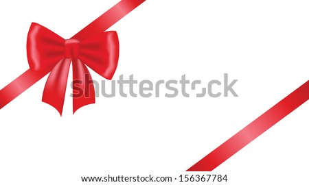 Card with red ribbon gift bow - stock vector