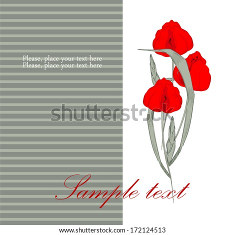 Card with red tulips