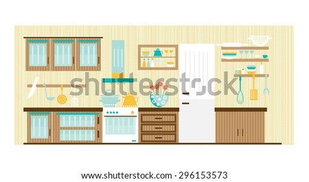 Card with retro, wooden, kitchen interior, cooking utensils - cup, stove, spatula, plate, pot, cupboard, shelf, whisk,  grater, teapot, oven, extractor, vector illustration