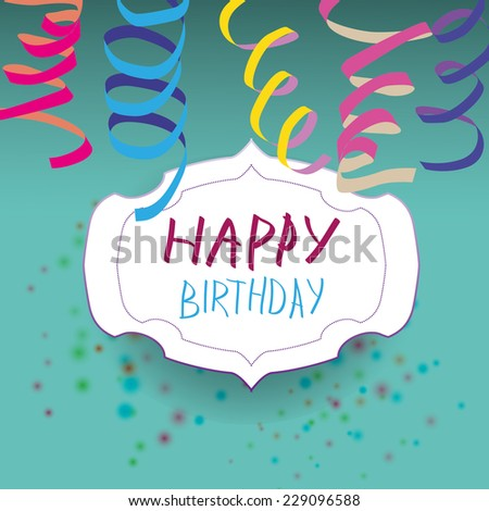 Card with ribbon and badge with happy birthday. Vector illustration - stock vector
