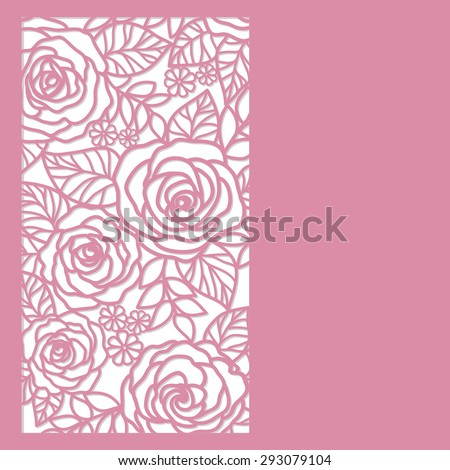 card with roses - stock vector