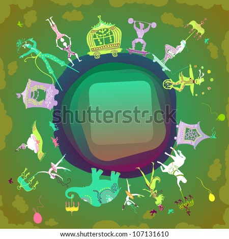 card with rounded label showing colorful circus caravan with magician, elephant, dancer, acrobat, mermaid and other fun characters - stock vector