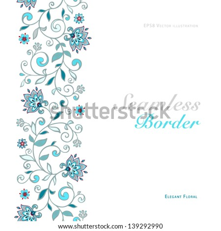 Card with seamless floral border. - stock vector
