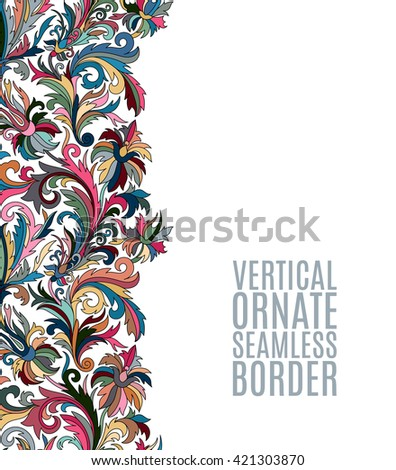 Card with seamless floral border. Doodle style template - stock vector
