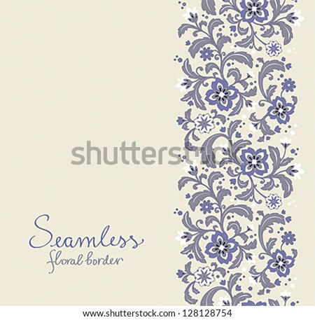 Card with seamless floral border. EPS10. - stock vector