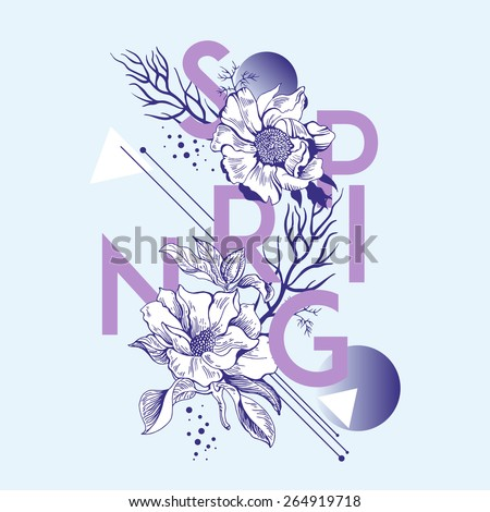 Card with set of decorative, floral design elements and text. Spring. For t-shirt or other uses. Natural cosmetic. Flower shop, market, boutique. - stock vector