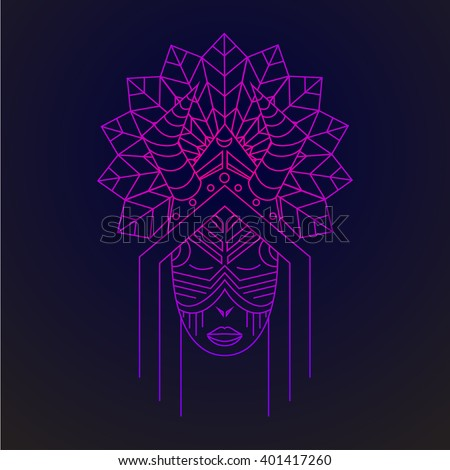 Card with Shaman, logo design in vector Shaman Illustration for design pattern textiles print on t-shirt cup canvas and other object, for logo sites. Tribal style, ethnic style. Feather headdress - stock vector