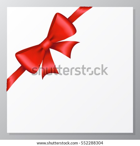 Card with shiny red bow and ribbon on a white paper background. Vector.