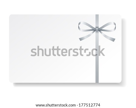 Card with silver bow and ribbon. Vector illustration - stock vector