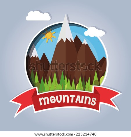 Card with snowy mountains and pine trees on a sunny day. vector image