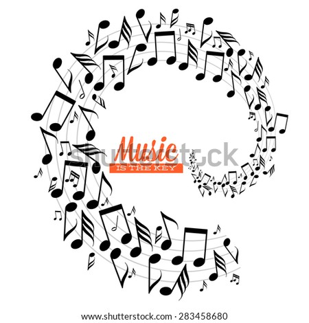 Card with spiral of messy scattered music notes on stave - stock vector