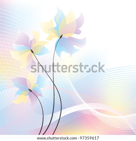 Card with spring flowers on abstract background