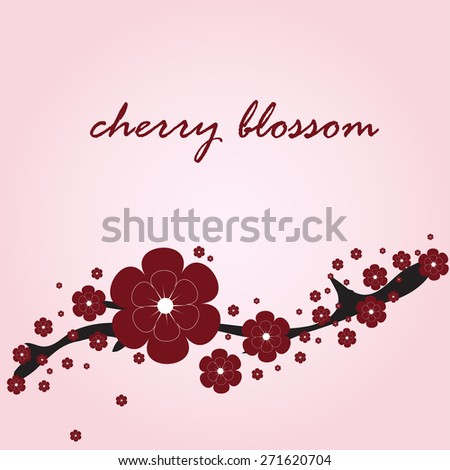 card with stylized beautiful red cherry blossom