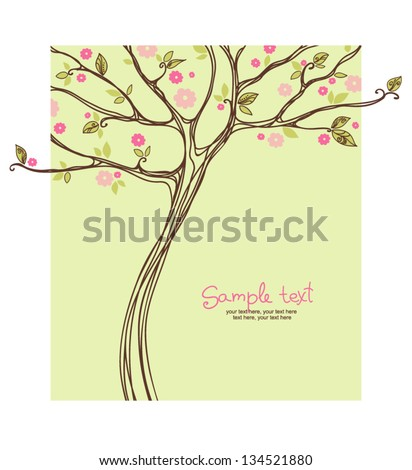 card with stylized blossoming tree - stock vector