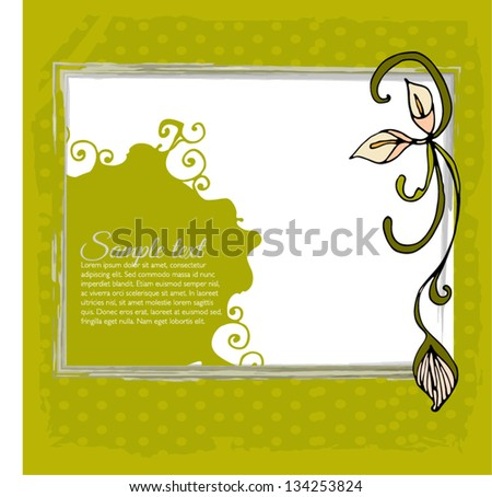 card with stylized calla lily and text - vector illustration