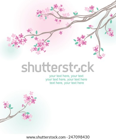 card with stylized cherry blossom and text - invitation for party or wedding - stock vector