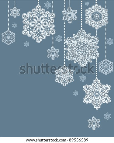 Card  with  stylized  Christmas  snowflake. - stock vector