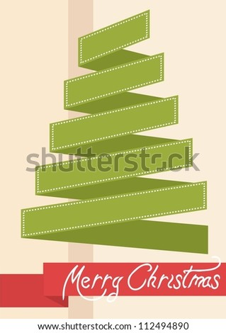 card with stylized christmas tree - stock vector