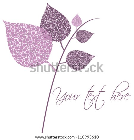 Card with stylized leaf. Vector floral background. Beauty floral illustration. - stock vector